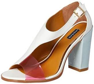 Jaggar Women's EPOCH Open Toe Chunky Block Heel Pump