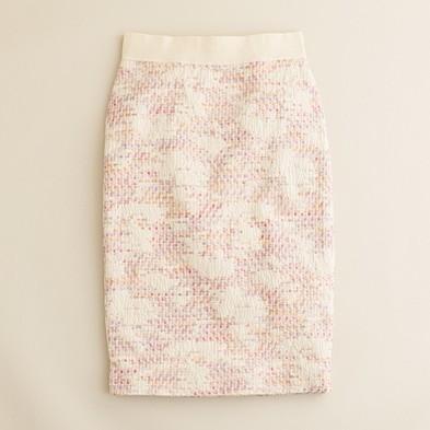 Pastille tweed pencil skirt