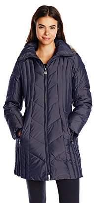 Anne Klein Women's 35-inch Chevron-Quilt Coat with Faux Fur-Trim Hood