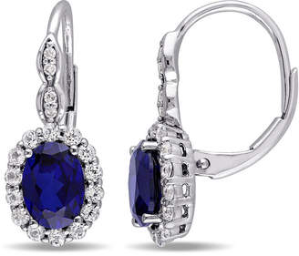 FINE JEWELRY Diamond Accent Lab Created Blue Sapphire 14K Gold Drop Earrings