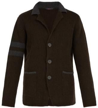 The Gigi - Eddy Colour Block Wool Cardigan - Mens - Brown