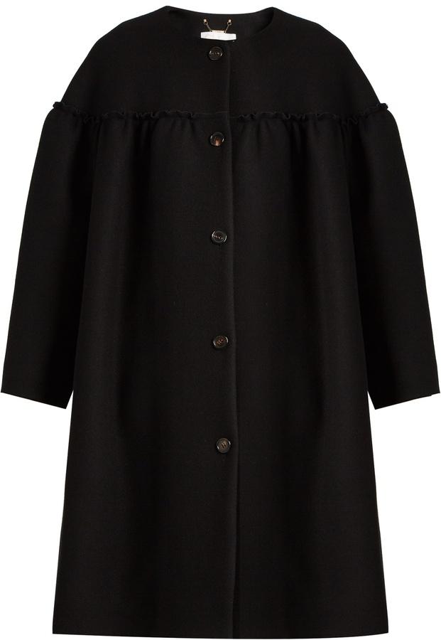 Chloé CHLOÉ Collarless ruffle-trimmed wool-blend coat