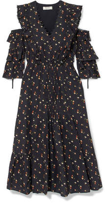 Sea Cold-shoulder Floral-print Cotton-dobby Dress - Black