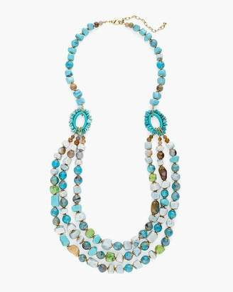 Turquoise and Neutral Multi-Strand Necklace