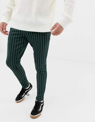 ONLY & SONS drawstring jogger with vertical stripe in green