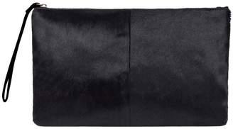 MAHI Leather - Classic Clutch Bag In Black Pony Fur