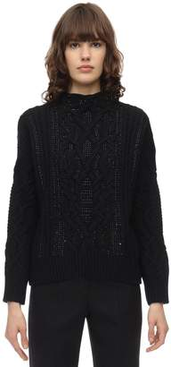 Ermanno Scervino EMBELLISHED WOOL BLEND KNIT SWEATER