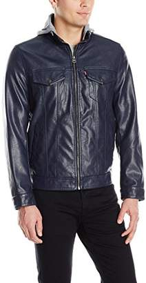 Levi's Men's Smooth Lamb Touch Faux Leather Hooded Stand Collar Commuter