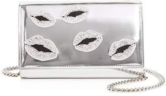 Giuseppe Zanotti Swarovski Crystal Lips Patent Leather Convertible Crossbody