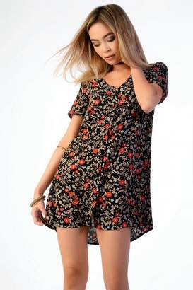 Topshop Womens **Floral Button Tea Dress by Glamorous Tall