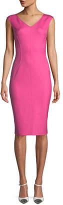Michael Kors V-Neck Sleeveless Silk Crepe Sheath Dress