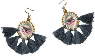 Gaia Olivia Tassel Earrings - Charcoal/Brass