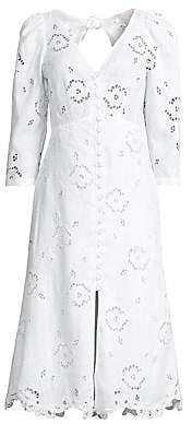 Rebecca Taylor Women's Terri Lace Eyelet A-Line Midi Dress - Size 0