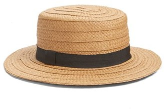 Women's Hinge Straw Boater Hat - Brown $29 thestylecure.com