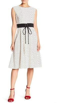 Gabby Skye Sleeveless Polka Dot Waist Tie Dress