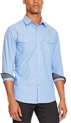Kenneth Cole Reaction Men's Long Sleeve Military Chambray