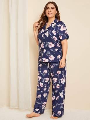 Shein Plus Floral Button Front Pajama Set