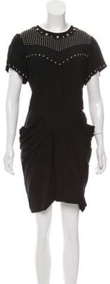 Isabel Marant Embellished Pleat-Accented Dress Black Embellished Pleat-Accented Dress