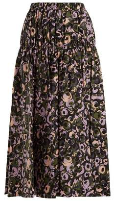 Marni Floral Print Cotton Midi Skirt - Womens - Green Print