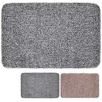 "Indoor Doormat Super Absorbs Mud 28""x18"" Latex Backing Non Slip Door Mat for Small Front Door Inside Floor Dirt Trapper Mats Cotton Entrance Rug Shoes Scraper Machine Washable Carpet Black White Fiber"