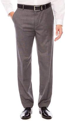 Jf J.Ferrar Men's JF Stretch Gray Check Flat-Front Straight-Leg Slim Pant