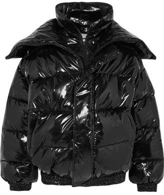 Oversized Layered Quilted Vinyl Jacket - Black