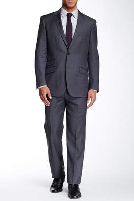 English Laundry Woven Grey Two Button Notch Lapel Wool Suit