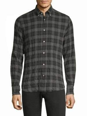 Officine Generale Crinkle Check Flannel Button-Down