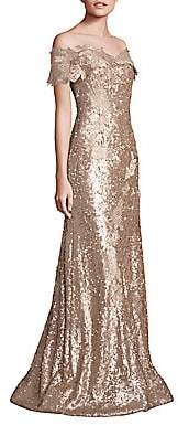 Rene Ruiz Collection Women's Off-Shoulder Sequin Lace Applique Gown