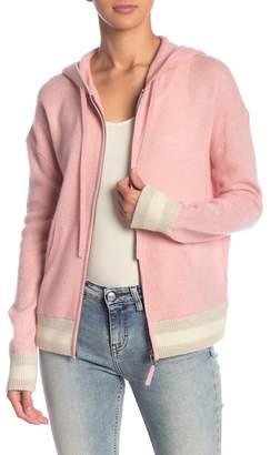 360 Cashmere Layla Stripe Trim Cashmere Blend Hooded Jacket