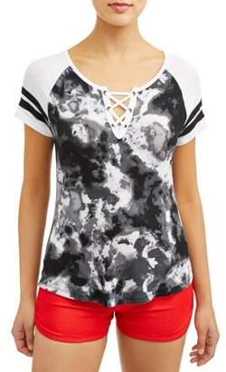 52c789cfb4a6e No Boundaries Juniors' Printed Lace-Up Varsity Stripe Raglan Sleeve T-Shirt