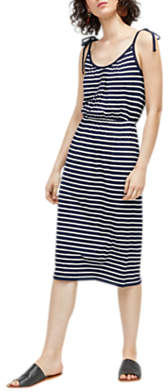 Warehouse Stripe Tie Shoulder Dress