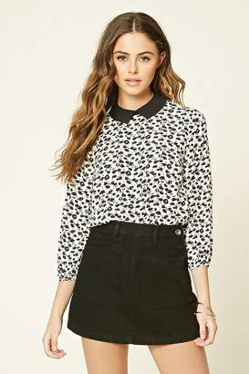 Forever 21 Floral Print Collar Top
