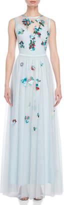 Blugirl Long Tulle Floral Applique Dress