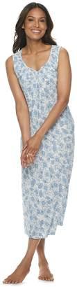 Croft & Barrow Women's Sleeveless Knit Smocked Long Gown