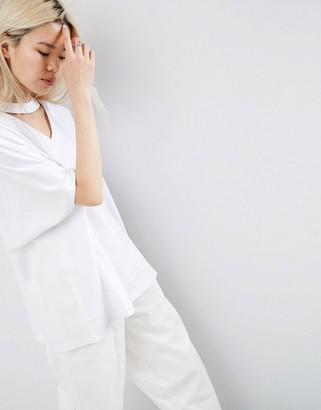 ASOS White ASOS WHITE Oversized T-Shirt With V-Cut Out Detail $46 thestylecure.com