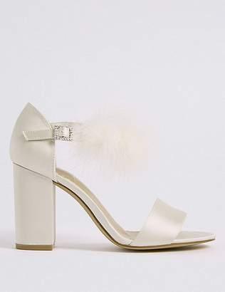 Marks and Spencer Block Heel Fur Ankle Strap Sandals