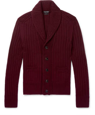Tom Ford Steve McQueen Slim-Fit Shawl-Collar Ribbed Wool Cardigan - Burgundy