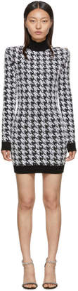 Balmain Black and White Tweed Houndstooth Long Sleeve Dress