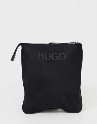 d56028b6152e HUGO Record logo flight bag in black