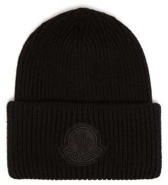 Moncler 2 1952 - Logo Virgin Wool Beanie Hat - Mens - Black