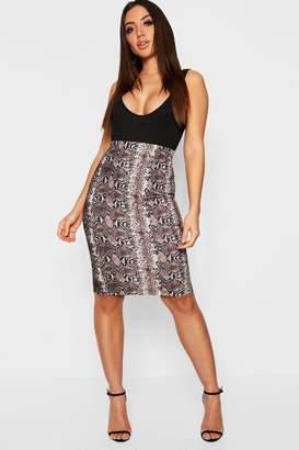 boohoo Snake Print Midi Skirt