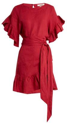 Etoile Isabel Marant Delicia Ruffle Trimmed Linen Wrap Dress - Womens - Dark Pink