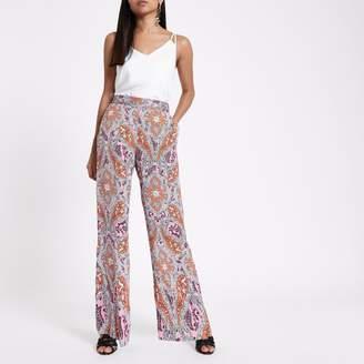 River Island Womens Petite orange paisley print wide leg trousers