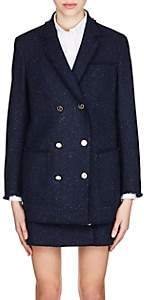 Thom Browne Women's Frayed Wool Tweed Jacket - Navy
