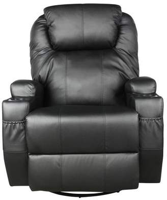 legency Massage Recliner Bonded Leather Chair Ergonomic Lounge Heated Sofa with Cup Holder 360 Degree Swivel Manual Recliner-Black-10 IN 1