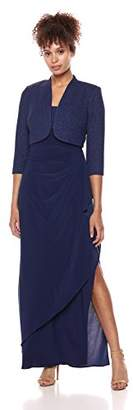 Alex Evenings Women's Long Side Ruched Dress with Bolero Jacket