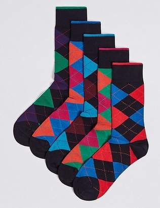 "Marks and Spencer 5 Pack Cool & Freshfeetâ""¢ Checked Socks"