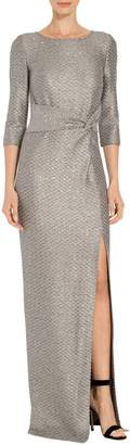 St. John Glamour Sequin Knit Sleeve Gown