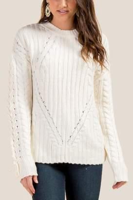 francesca's Alison Lattice Cable Knit Sweater - Ivory